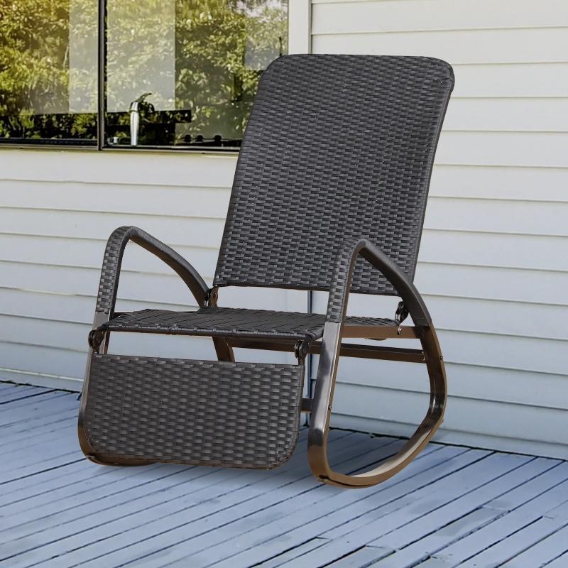 Outsunny® Krzesło Bujane Fotel z Podnóżkiem 3-stopniowa Regulacja Oparcia Pe Rattan Czarne