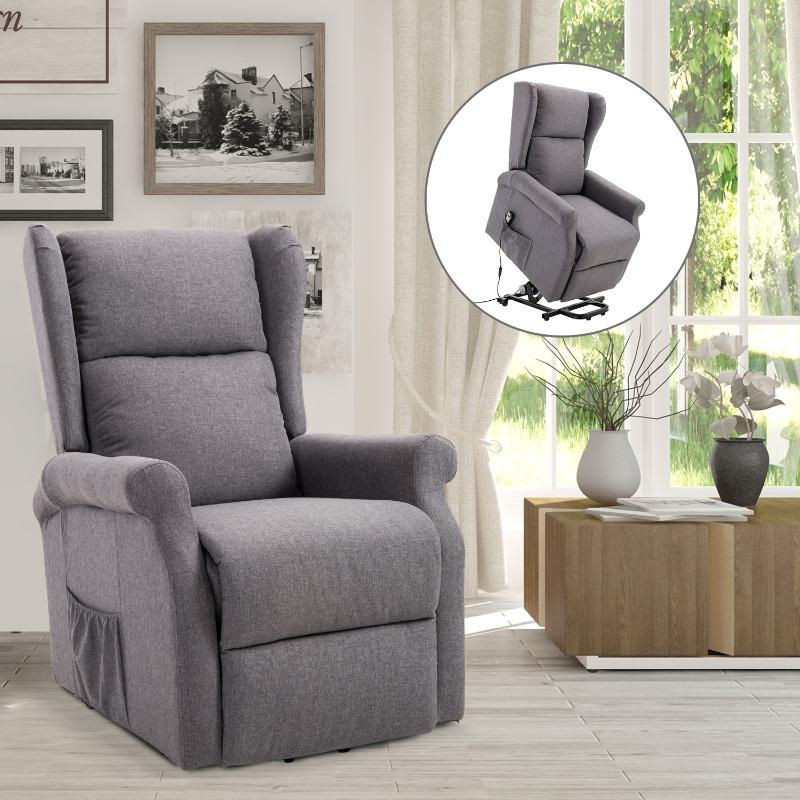 Fotel podnoszony z funkcją wstawania fotel telewizyjny z funkcją leżenia tkanina kolor kremowy/szary