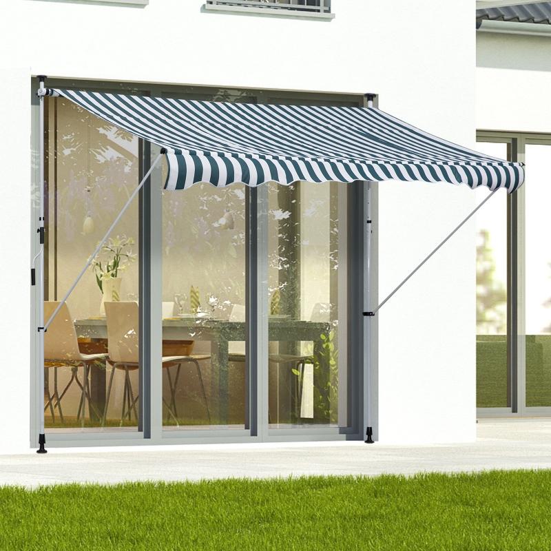 Markiza zaciskowa składana ochrona przeciwsłoneczna korbka ręczna balkon aluminium zielona 3x1,5m Outsunny