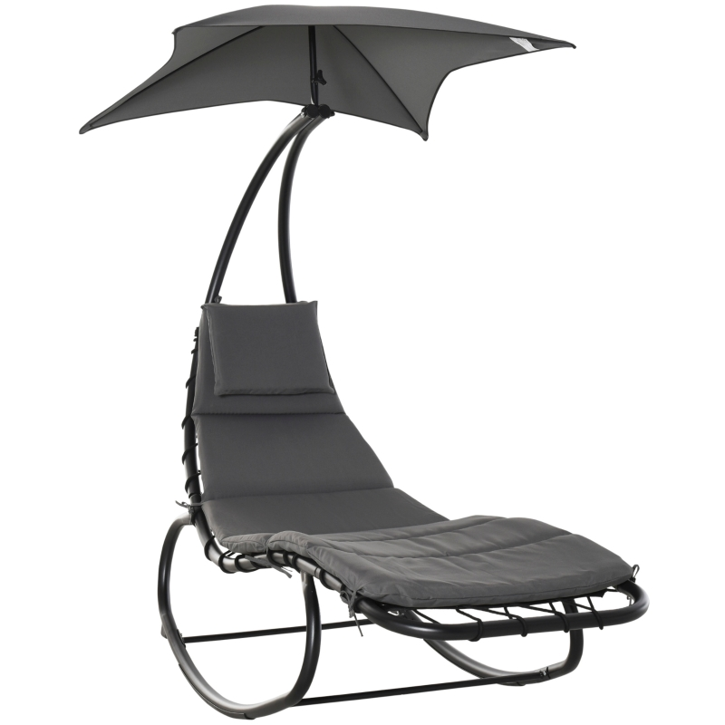 Leżak na biegunach fotel bujany leżak do relaksu z daszkiem ogród balkon biuro ciemnoszary