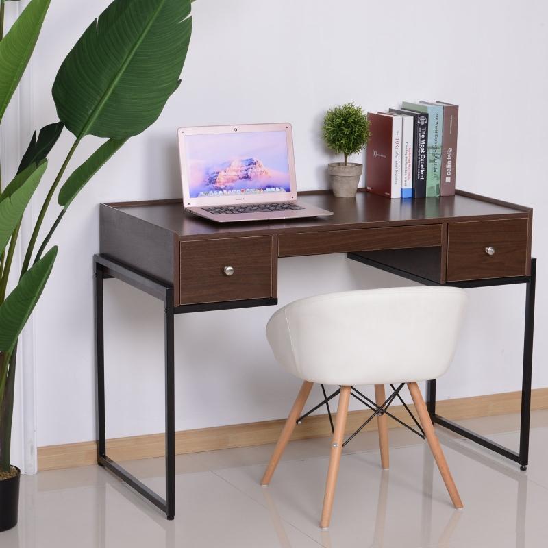 HOMCOM® BIURKO KOMPUTEROWE 3 x SZUFLADA regulowana drewno + metal orzechowy + czarny 114 x 55 x 77 cm