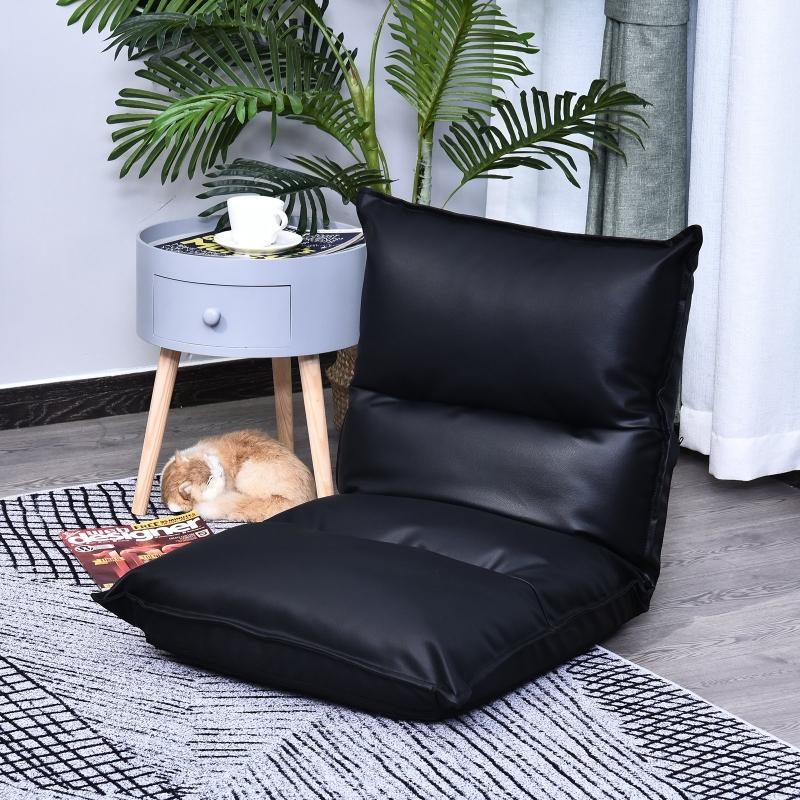 Homcom® Poduszka Siedzisko Podłogowe Krzesło Worek do Siedzenia Poduszka Stadionowa Regulowane Oparcie PU Czarny 55 X 45 X 67 cm