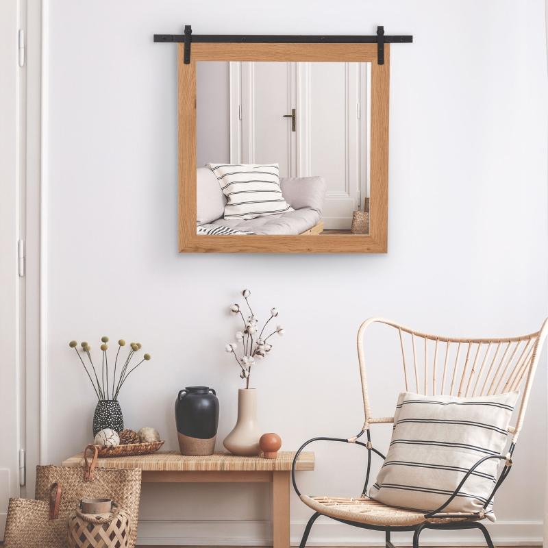 Lustro łazienkowe lustro ścienne lustro do łazienki z szyną w stylu industrialnym metal
