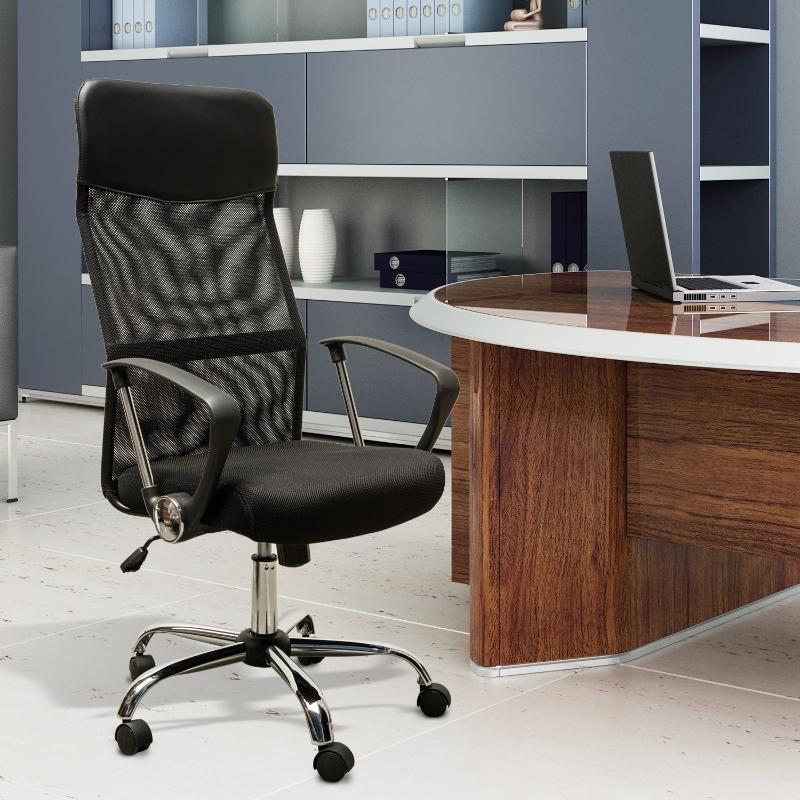 Krzesło biurowe krzesło obrotowe z funkcją kołysania fotel gamingowy pianka siatka czarny