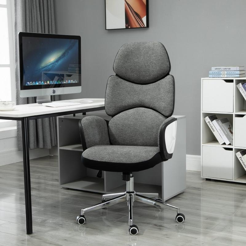 Vinsetto® Fotel Biurowy Gamingowy Ergonomiczny Lniany Pianka Cynkowany Tworzywo