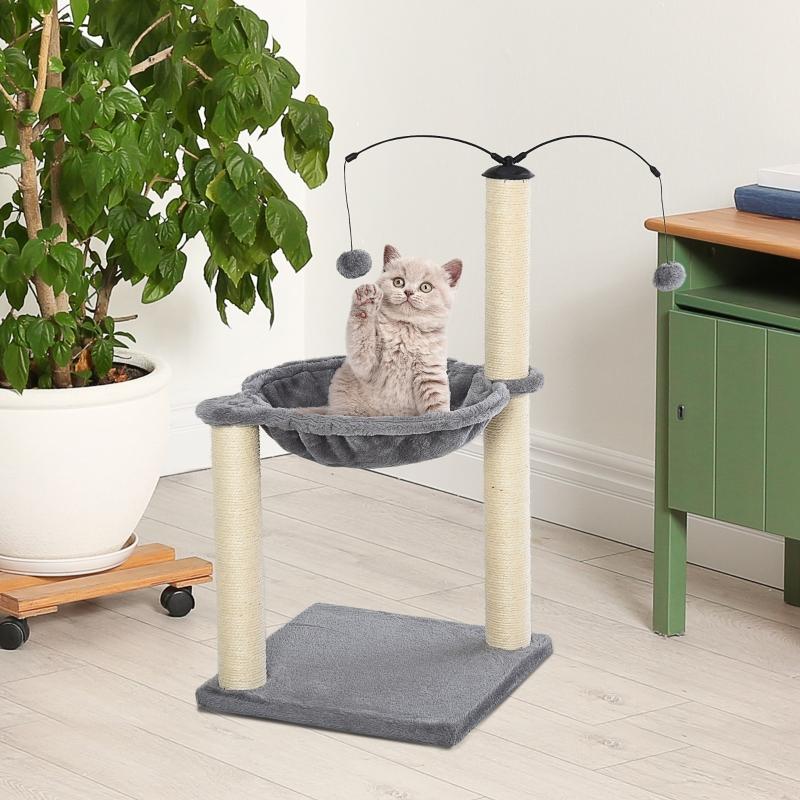 Drapak do ostrzenia pazurów z hamakiem Drapak dla kota Drzewko do wspinaczki dla kotów z obracającymi się piłkami szary