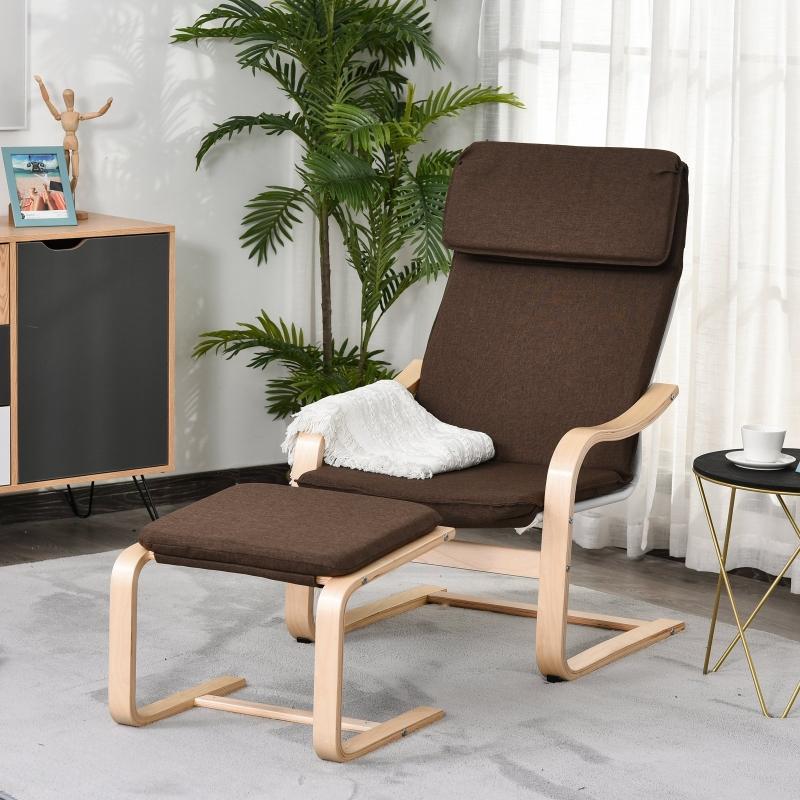 Fotel z pufą Fotel wypoczynkowy z podłokietnikami lniane obicie drewniana rama brązowy