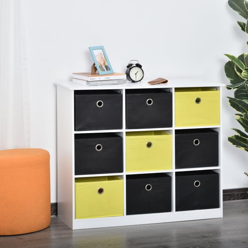 Regał stojący regał biurowy z szufladami z tkaniny MDF kolor biały