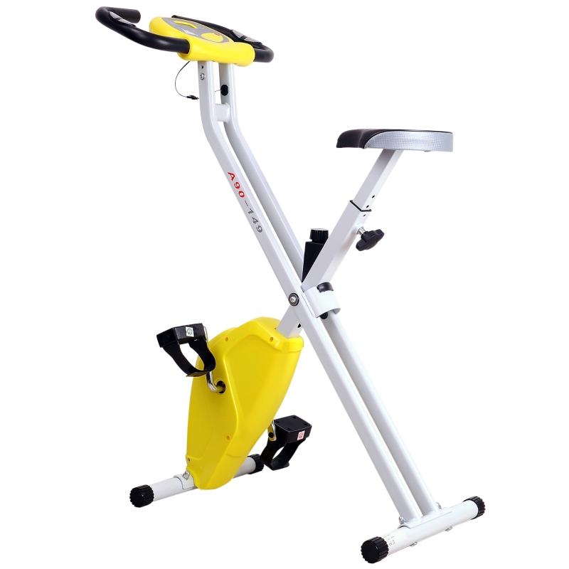 Rower treningowy z monitorem LCD Rower fitness regulowany składany stalowy żółty