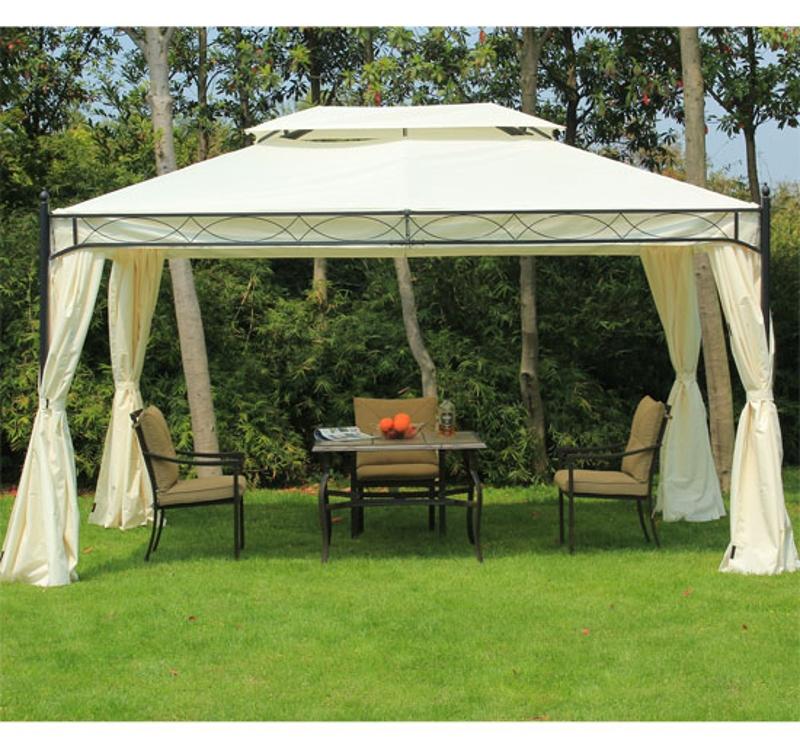 pawilon pawilon ogrodowy festyn namiot imprezowy podwójny daszek namiot ogrodowy 3x4 m kremowy