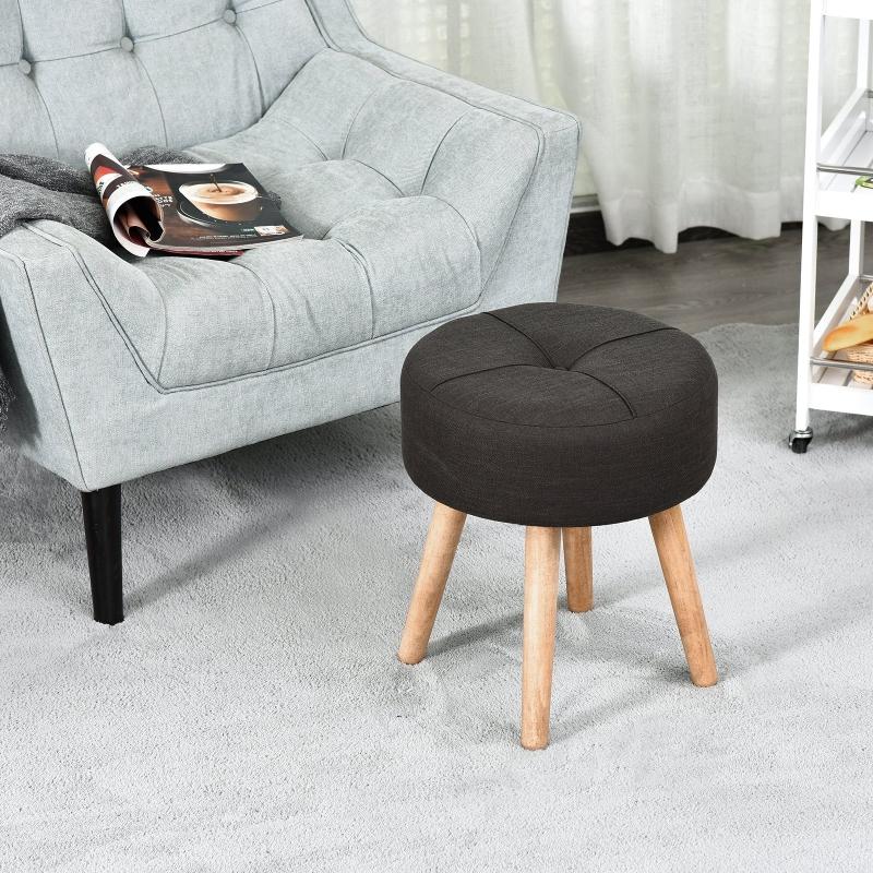 Taboret, stołek, pufa tapicerowana, podnóżek z drewnianymi nogami tkanina ciemnoszara