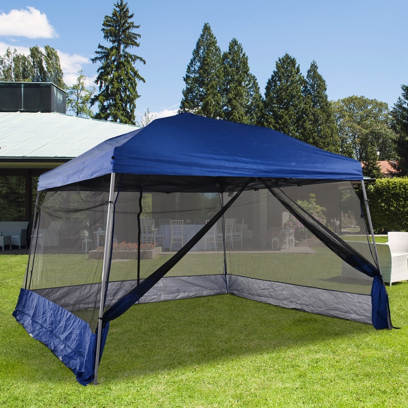 Outsunny® Pawilon Składany 4 Ścianki Siatkowe Namiot Ogrodowy Pop-Up Regulacja Wysokości Stal Niebieski