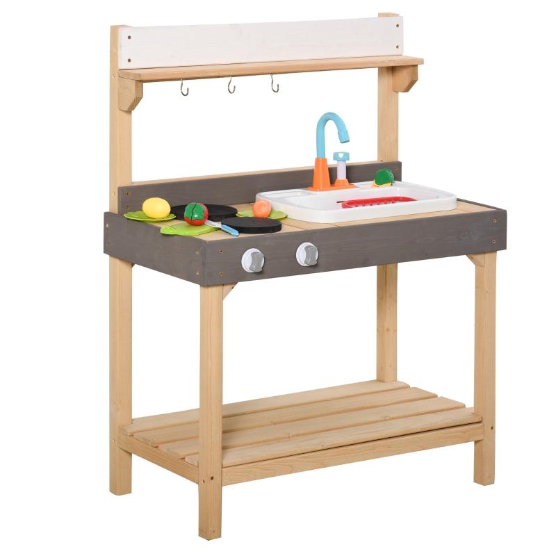 Kuchnia zabawkowa z kranem kuchnia dziecięca z akcesoriami 14-częściowa kuchnia do zabawy drewno