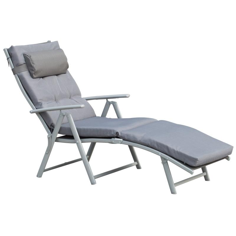 Outsunny® Leżak Plażowy Ogrodowy 7-stopniowa Regulacja Składany Metal Szary