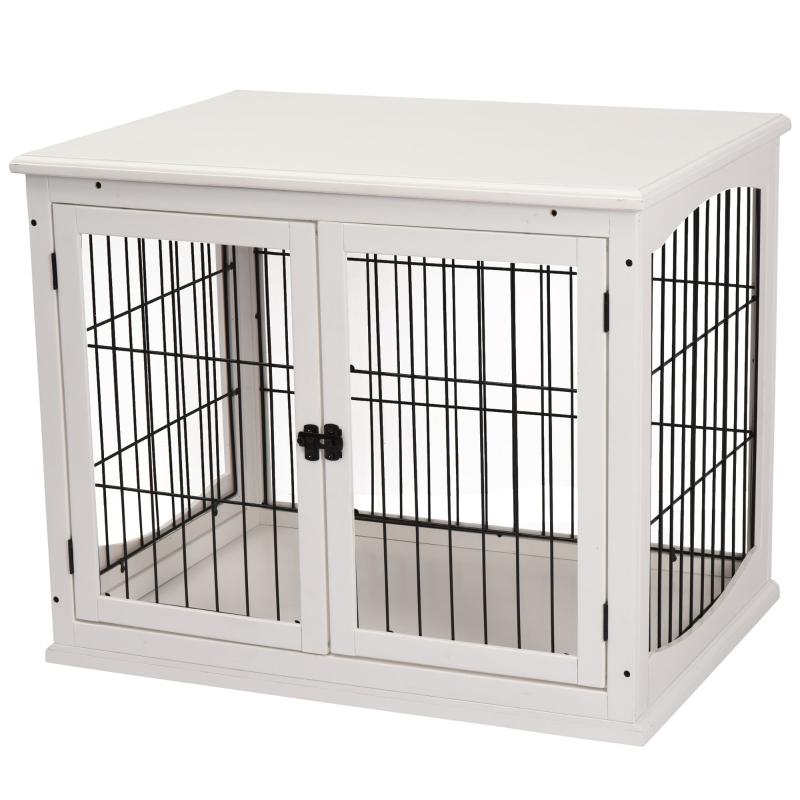 Pawhut® Klatka dla Psa do Domu 2 Drzwi Zwierzęta Domowe MDF Metal Biała