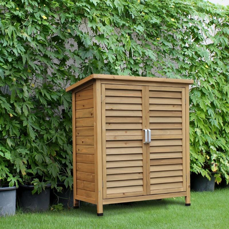 Drewniana szafa ogrodowa Outsunny szopa narzędziowa szopa ogrodowa domek narzędziowy szafka drewniana daszek jednospadowy papa bitumiczna okiennice naturalna 87 x 46,5 x 96,5 cm