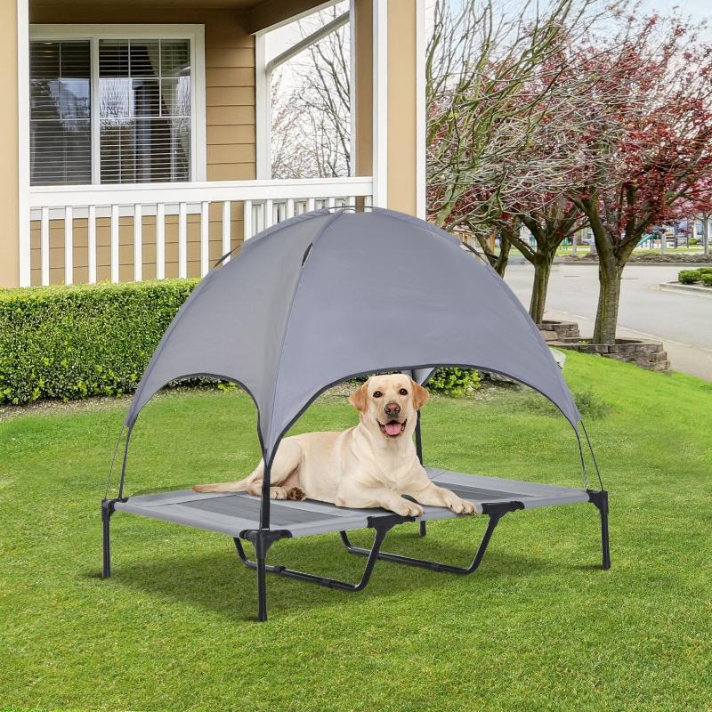 PawHut® Leżanka dla Zwierząt z Baldachimem Podwyższone Łóżko dla Psa Oddychająca Tafta