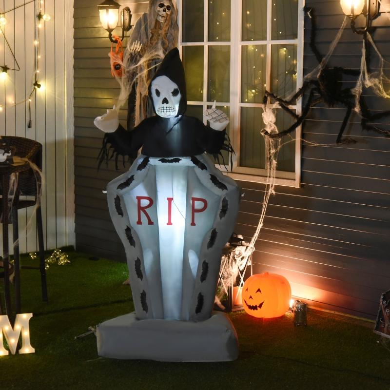 Halloween Nadmuchiwany duch z nagrobkiem świecąca zjawa dekoracja 180 cm