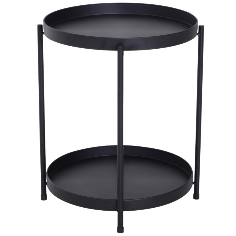 HOMCOM® ŁAWA STOLIK KAWOWY TACA metal czarny 51 x 65 cm (ØxW)