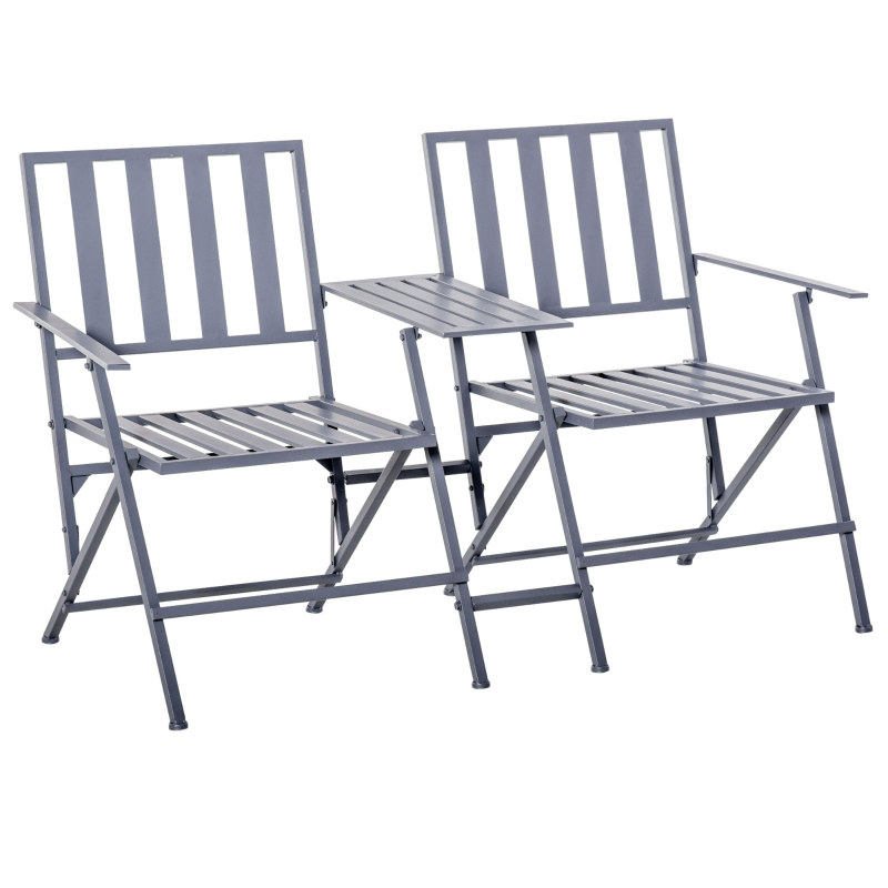 Podwójny fotel ze stolikiem krzesło ogrodowe składane stal 141 x 60 x 87 szary