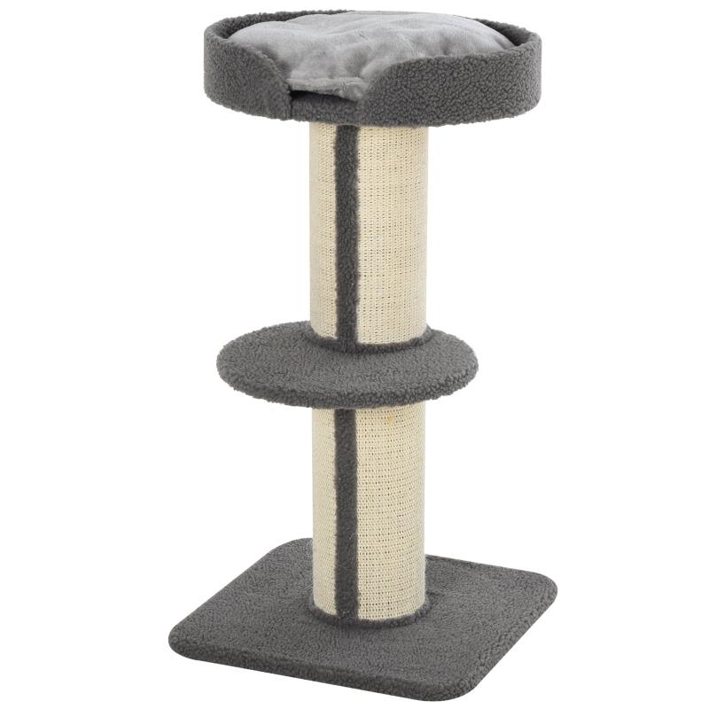 Drapak dla kota Drzewko do zabawy Pień do drapania z platformą sizal plusz szary