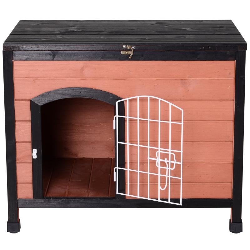 PawHut® Domek dla Psa Buda z Drzwiczkami z Drutu Otwierany Dach Lite Drewno