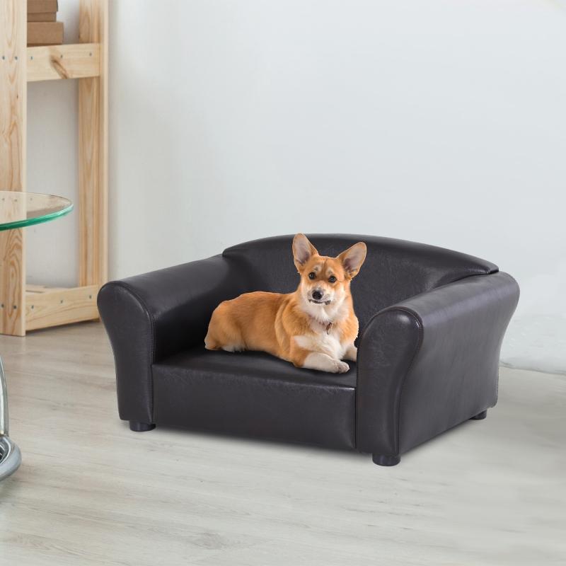 PawHut® Sofa Łóżko dla Psa Legowisko dla Zwierząt Domowych Mata Ekoskóra Ciemny Brąz