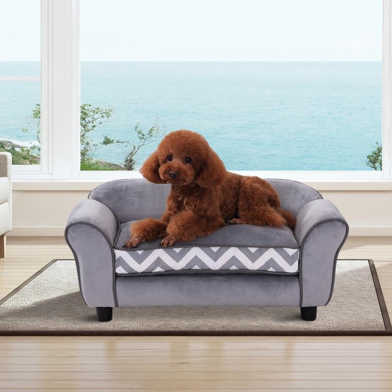PawHut® Sofa dla Psa Łóżko Legowisko Zwierzęta Domowe Możliwość Prania Podwyższone Nóżki Aksamit Szary