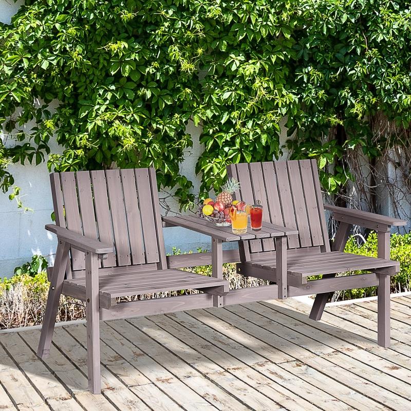 Ławka ogrodowa ze stołem meble ogrodowe z otworem na parasol ławka balkon lite drewno Outsunny®