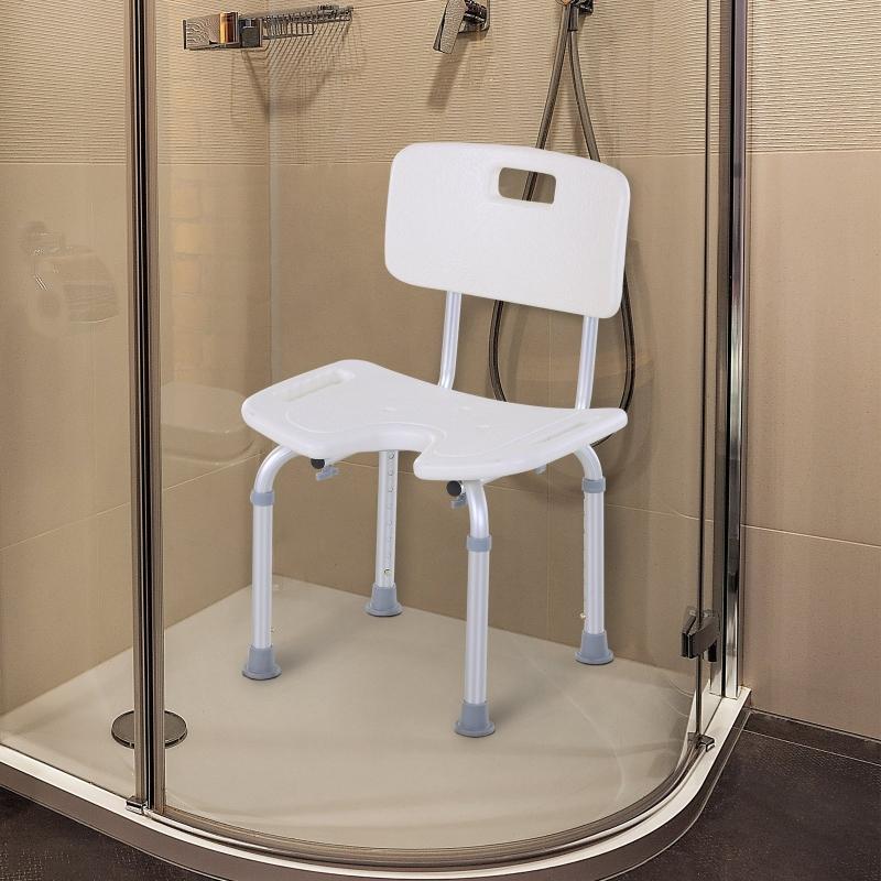 HOMCOM Krzesło prysznicowe z oparciem, Antypoślizgowe krzesło do kąpieli, 8-stopniowa regulacja wysokości, stop aluminium, biały, 39,5 x 36,5 x 71-83,5 cm