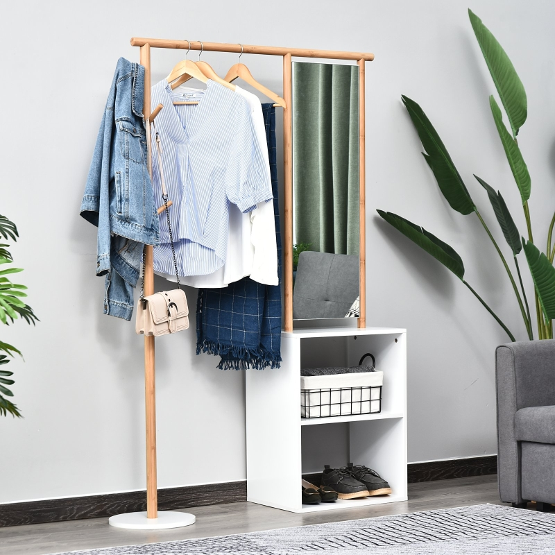 HOMCOM® Stojak na Ubrania Do Garderoby z Lustrem Półki 4 Haki Bambus Naturalny