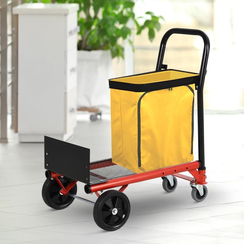 Wielofunkcyjny wózek transportowy 2 w 1 składany wózek ręczny o regulowanej wysokości kolor pomarańczowy + czarny