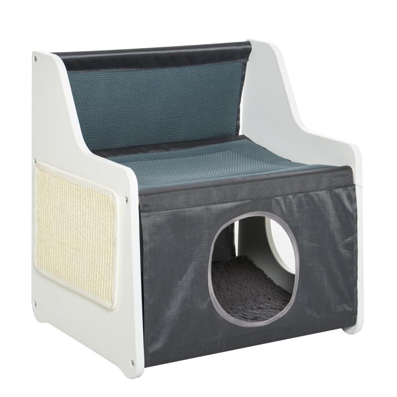 Domek dla kota z tarasem 2-warstwowe legowisko dla kota Przytulna jaskinia tkanina Oxford szary