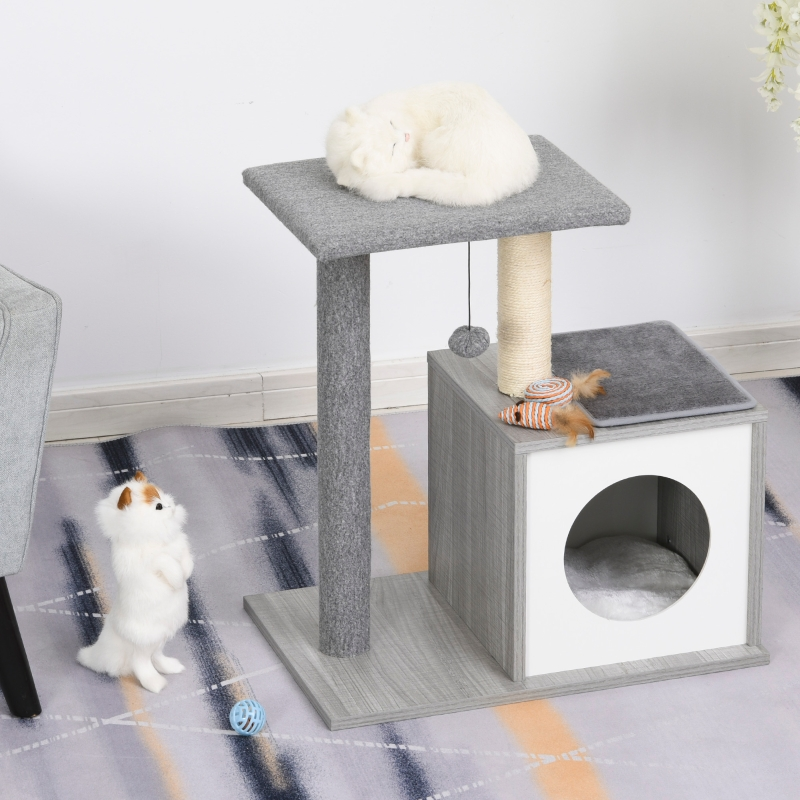 Drapak do ostrzenia pazurów Drapak dla kota Drzewko wspinaczkowe z jaskinią i pluszową poduszką płyta wiórowa E1 szary