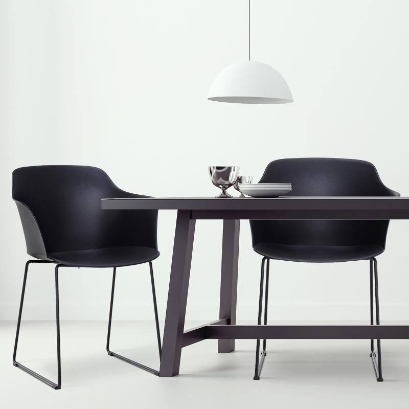 Homcom® Krzesła do Jadalni Zestaw 2-częściowy Metalowe Nogi ze Ślizgaczami Meblowymi Pp Czarny 58 X 51,5 X 82 cm