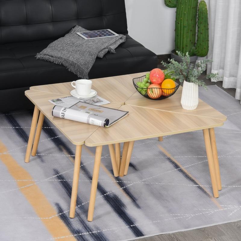 Stolik zestaw 4 szt. Stolik trójkątny Stolik kawowy dowolnie łączony naturalny