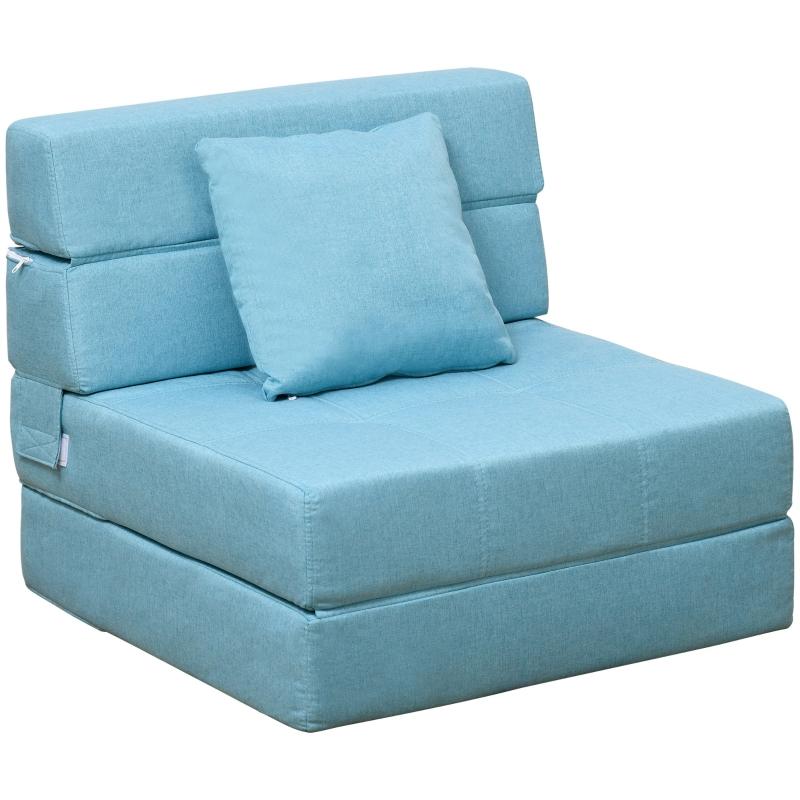Fotel rozkładany sofa rozkładana sofa-łóżko sofa jednoosobowa z poduszkami do prania niebieski