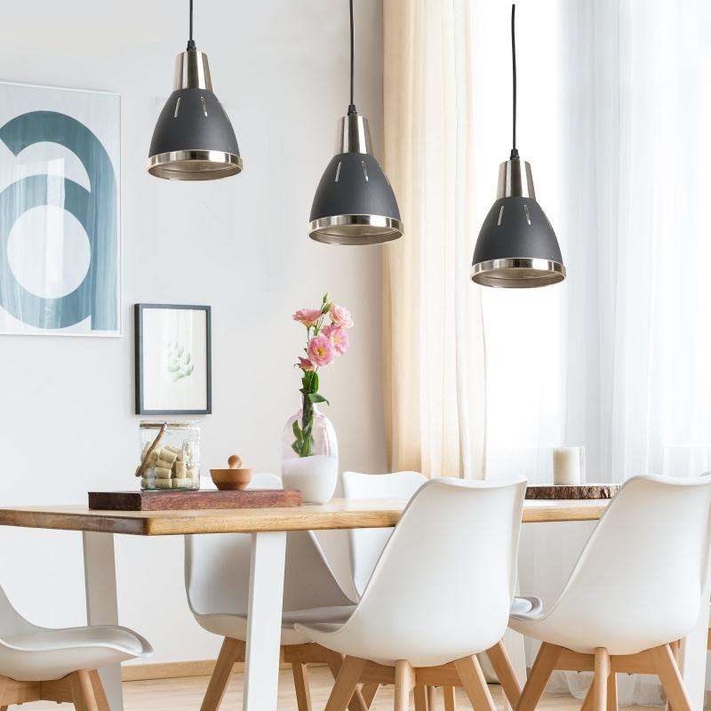 HOMCOM® ZESTAW 3 LAMP SUFITOWYCH WISZĄCYCH E27 40W METAL czarny ∅13 x W16 cm