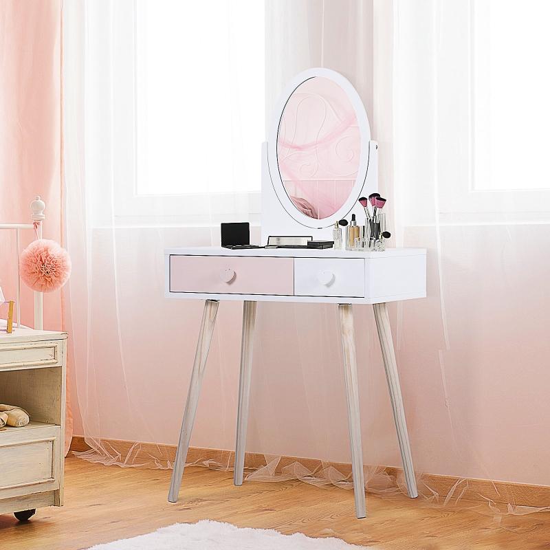 HOMCOM® Toaletka Dla Dzieci Stół Kosmetyczny Biurko Lustro 2 Szuflady Lite Drewno