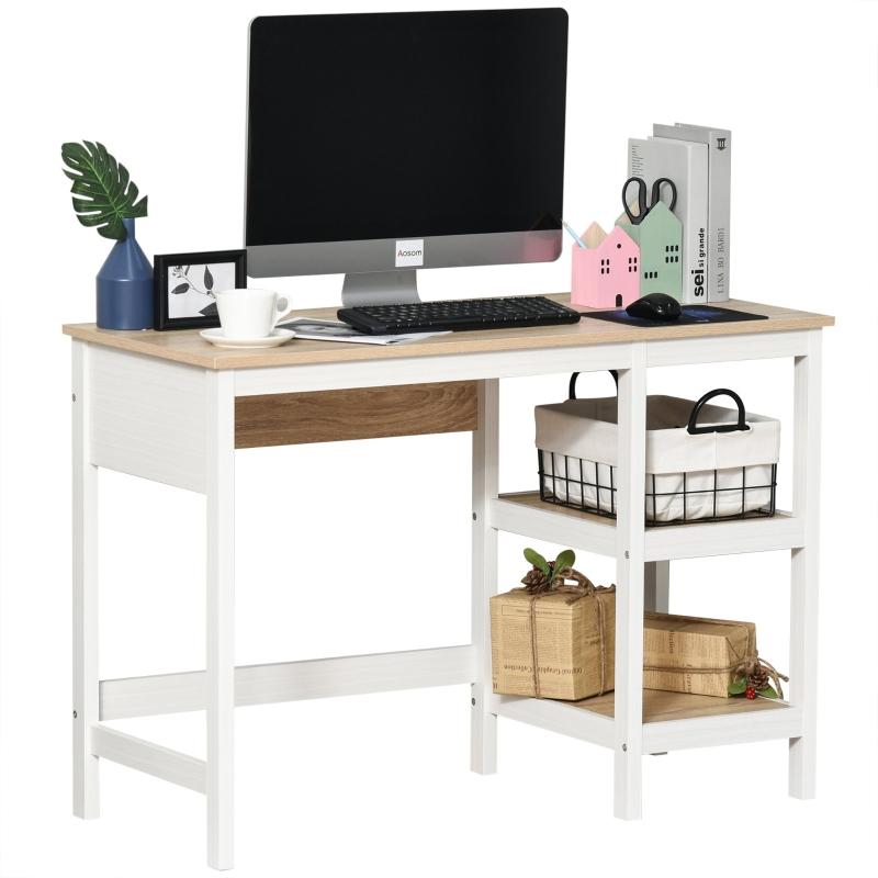 Biurko dwupoziomowe regał biurko komputerowe stół biurowy MDF naturalny + biały
