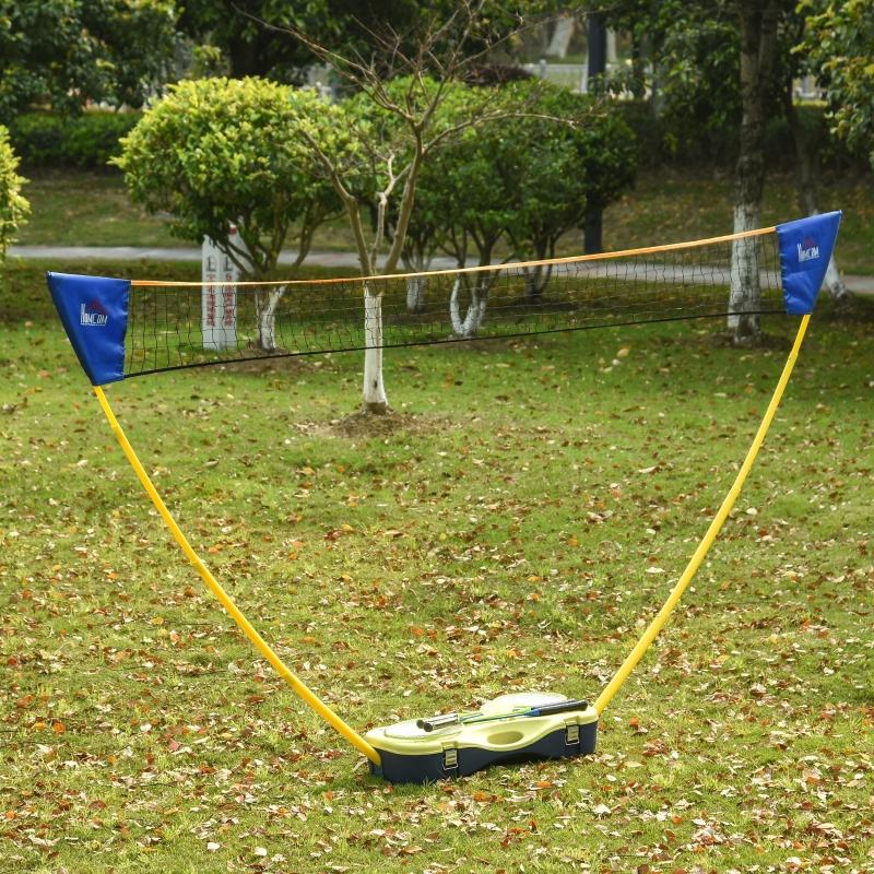 Siatka do badmintona ze stojakiem Stojak z siatką do badmintona z 4 rakietami do badmintona przenośny