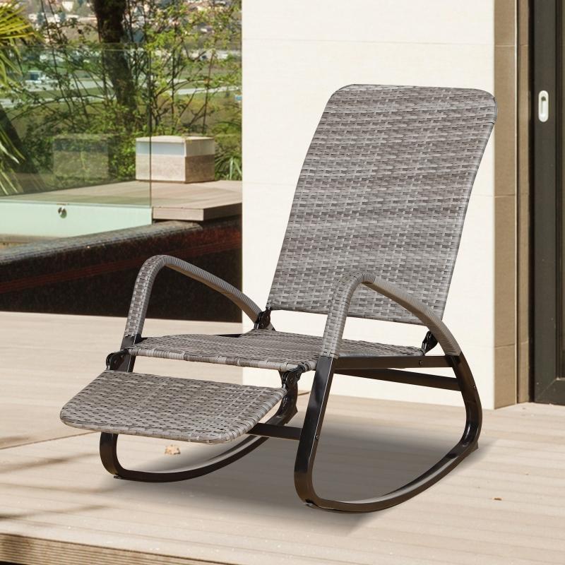 Outsunny Krzesło Bujane Fotel z Podnóżkiem 3-stopniowa Regulacja Oparcia Pe Rattan Szare