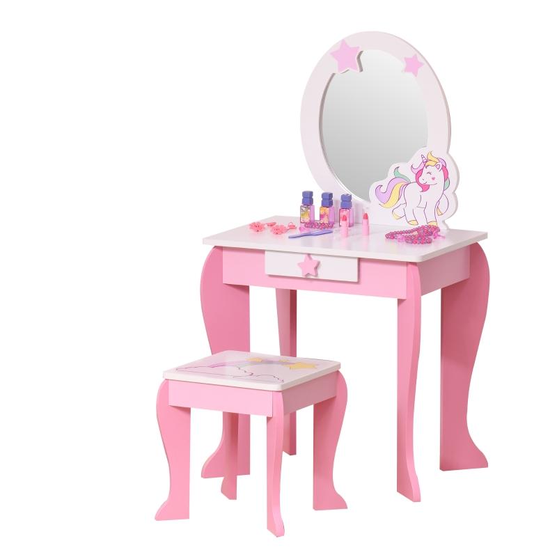 2-częściowa toaletka dziecięca z taboretem stół fryzjerski z szufladą MDF akryl