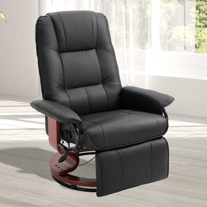 Fotel relaksacyjny fotel TV leżanka skórzana 360° fotel obrotowy drewniana podstawa czarny 135° odchylany HOMCOM®