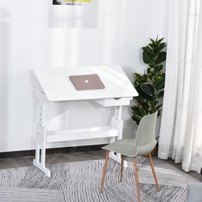 Stół do nauki biurko pulpit do laptopa regulacja wysokości z szufladą MDF biały