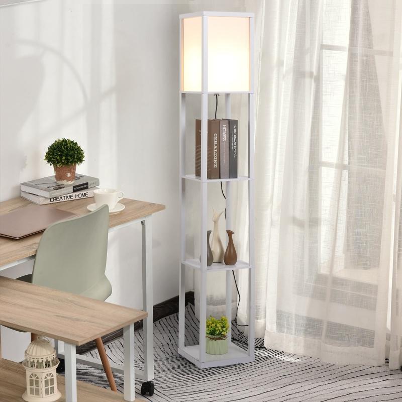HOMCOM Lampa podłogowa Lampa stojąca z 3 półkami