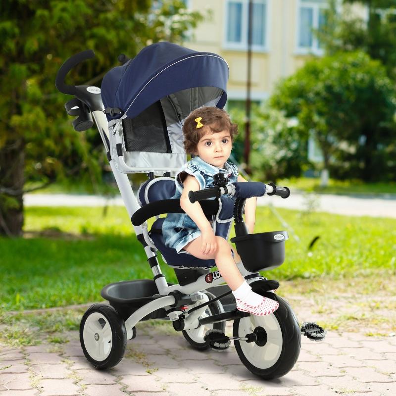 Dziecięcy rowerek trójkołowy 4w1 rower trójkołowy dla dzieci aluminium metal niebieski