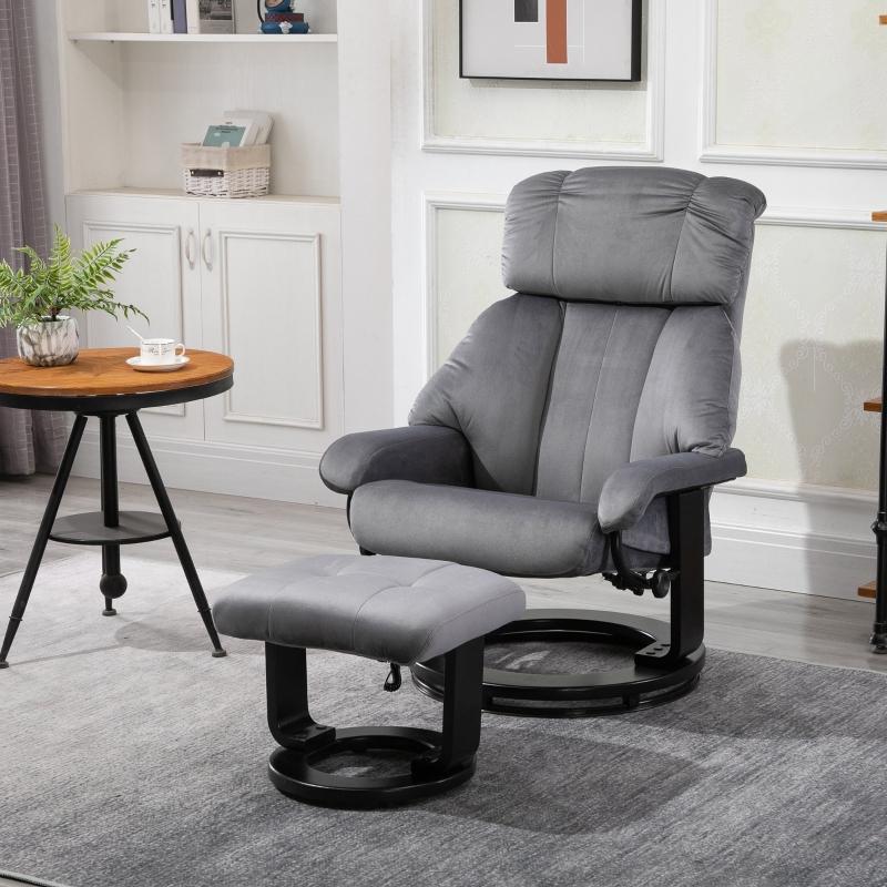 Fotel masujący z taboretem Fotel TV funkcja podgrzewania+funkcja odchylania Szary 76x80x102 HOMCOM®