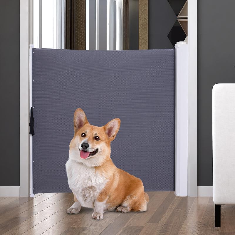 Barierka zabezpieczająca do drzwi / na schody dla psów Bramka do drzwi Barierka szary PVC