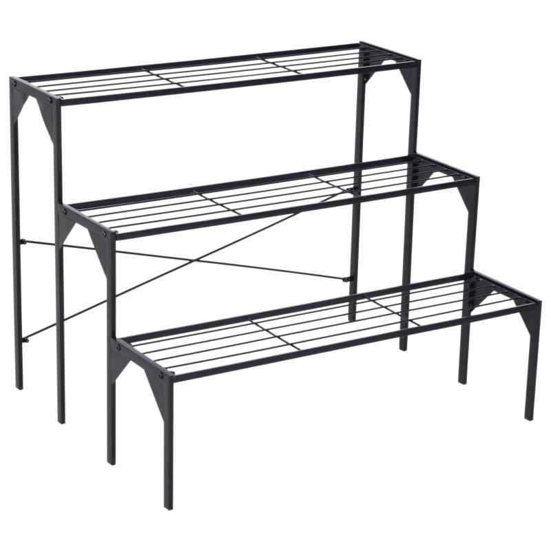 Outsunny® STOJAK NA KWIATY SCHODKI KWIETNIK REGAŁ ŁAWKA metal czarny 85 x 65,5 x 66 cm